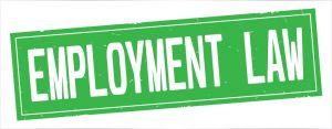 Green 'employment law' sign